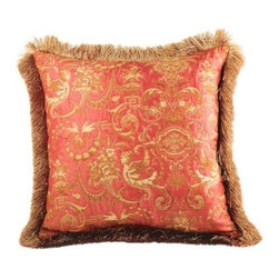 """Canaan - Angelique Salmon Damask Pattern Print 20"""" x 20"""" Throw Pillow - Angelique Salmon Damask pattern print 20"""" x 20"""" throw pillow with brush fringe trim. Measures 20"""" x 20"""" made with a blown in foam. These are custom made in the U.S.A and take 4-6 weeks lead time for production."""