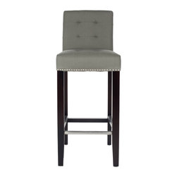 Safavieh - Safavieh Noho Grey Barstool - Give your bar area a sophisticated flair with these grey bar stool chairs. Upholstered in classic grey linen fabric, these birch wood stools will add the finishing touch to your decor. A lovely espresso finish completes these stools.