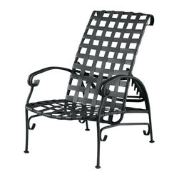 Woodard - Ramsgate Strap Adjustable Lounge Chair (Textured Black) - Finish: Textured Black. Aluminum frame. Seat Height: 15 in. H. 54.5 in. W x 26 in. D x 24 in. H. All products are made to order. Orders cannot be cancelled after 5 calendar days. If order is cancelled after 5 calendar days, a 50% restocking fee will be applied.