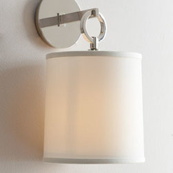 """VISUAL COMFORT - VISUAL COMFORT """"French Cuff"""" Sconce - Sleek sophistication emanates from this handcrafted French cuff sconce. Designed by Barbara Barry for Visual Comfort. Made of brass. Polished-nickel finish. Silk shade. Uses one 75-watt bulb. Professional installation required. 8""""W x 8.75""""D x 1..."""