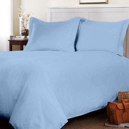 Egyptian Cotton Fitted Sheet With Duvet Set 600 TC Solid (King, Sky Blue) By Fan - This is 1 Fitted sheet (76 x 80 inches), 1 Duvet Cover (102x94 inches) and 2 King Size Pillowcases (20x40 inches) only.