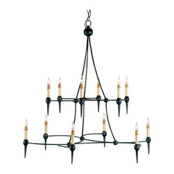 Kathy Kuo Home - Black Modern Gothic Orb Taper 12 Light Grand Chandelier - Modern Gothic lighting style comes to life in a fascinating design: two iron U shapes come together to hold the 12 lights as orbs and tapered points. Spanish Revival chandeliers might get jealous, as this piece works in modern and traditional settings where drama is welcome.