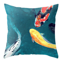 Brazen Design Studio - Decorative Pillow Cover - Water Ballet Koi Painting, Throw Pillow Cushion, 16x16 - Liven up your space with a fine art pillow cover featuring my original artwork! This listing is for one pillow cover featuring my vibrant watercolor painting, on 100% spun designer polyester poplin fabric, a stylish statement to brighten up any room.