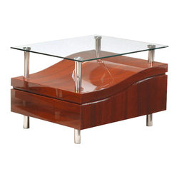 Global Furniture - Global Furniture USA 759ME Wave Clear Glass End Table in Mahogany - This modern table is finished in a rich mahogany color with a glass top. With the clean lines and eye catching design, there is no doubt you will marvel at the way these pieces blend in with the rest of your living space.