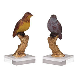 Sterling Industries - Sterling Industries 93-19383/S2 Birds Decor in Handpainted Finish - Birds in color in acrylic base. Formed from composite and painted in bright gold leaf with detailed hand painting. This piece decorates any shelf and is mounted in a clear lucite base.