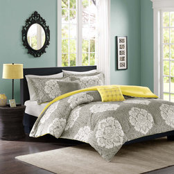 ID-Intelligent Designs - Intelligent Design Ciara 4-piece Comforter Set - Update your space with luxurious style and comfort. This Intelligent Design Ciara comforter set combines a modern grey with a cool yellow reverse to highlight this beautiful white damask print.