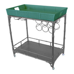The Madison Mixer, Teal/Gray - I love that Society Social pieces can be customized. This teal bar cart is so fun.