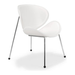 ZUO MODERN - Match Lounge Chair White (set of 2) - The Match chair has two elegantly shaped scoops made of a durable hard leatherette that form a symmetrical seat and back. The frame is chromed solid steel with hardwood friendly rubber feet. A perfect chair to complete any leisure space.