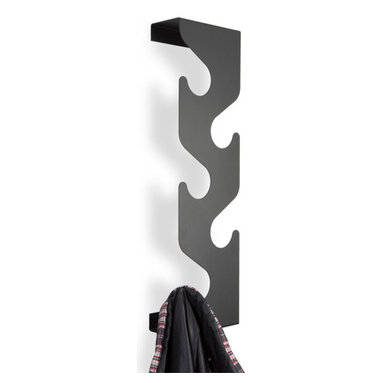 j-me design - Wave Coat Rack, Black - This uniquely formed coat rack saves space while providing a striking decorative accent. It's unobtrusive design makes it a perfect accessory for doorways and hallways. The Wave Coat Rack holds up to ten (10) coats & Jackets and includes two small shelf areas. The Wave is precision crafted of powder coated mild steel and is available in black, silver or white. It's the ideal place to hang your coat!