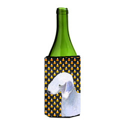 Caroline's Treasures - Bedlington Terrier Candy Corn Halloween Portrait Wine Bottle Koozie Hugger - Bedlington Terrier Candy Corn Halloween Portrait Wine Bottle Koozie Hugger Fits 750 ml. wine or other beverage bottles. Fits 24 oz. cans or pint bottles. Great collapsible koozie for large cans of beer, Energy Drinks or large Iced Tea beverages. Great to keep track of your beverage and add a bit of flair to a gathering. Wash the hugger in your washing machine. Design will not come off.