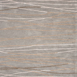 Jaipur Rugs - Modern Geometric Pattern Gray /Black Wool/Silk Tufted Rug - BQ12, 9.6x13.6 - The Baroque collection has a simple modern aesthetic. Hand tufted in 100% wool each rug is beautifully colored to reflect todays home trends.