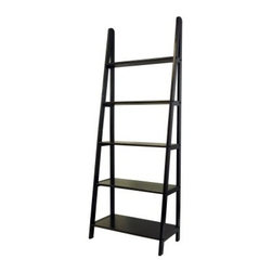 5 Shelf Ladder Bookcase - Espresso Finish - With its open-back ladder design and spacious shelves the Five-Shelf Corner Ladder Bookcase in Espresso is a handsome way to display a library of books and decorative touches, too. This bookcase is made of solid wood with a dark espresso brown finish that matches any decor. Five shelves of graduated length lend visual interest