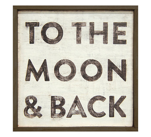 Kathy Kuo Home - To The Moon and Back' Reclaimed Wood Vintage Wall Art - Small - This art piece will take you on a sentimental journey to the moon and back, showing just how much you love your spouse, your family, your friends or your home. It's handmade in Georgia, then printed in two sizes.