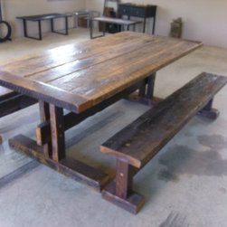 trestle base dining table w/benches -