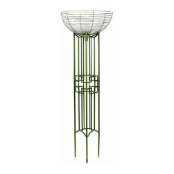 Achla - Juniper Finish Pylon Plant/Planter Stand from - Proudly display your carefully nurtured plants on this tall iron plant stand.  Potted plants displayed on elevated hemispherical stand are strikingly visible.  Tower-like plant stand makes a perfect accessory to flank garden gate with.  Curved metal plant holder elegantly complements the frame's straight lines & geometric patterns.  Planter offers stable, sturdy support with pointed tips driven firmly into the ground. * Finish: Powder Coated Juniper. Construction: Iron. Pylon: 12 in. L x 12 in. W x 60 in. H. Basket: 24 in. Dia x 10 in. D