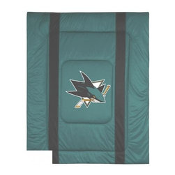 Sports Coverage - Sanjose Sharks NHL Bedding - Sidelines Comforter - Full - Show your team spirit with this great looking officially licensed Sanjose Sharks comforter which comes in a new design with sidelines. This Sanjose Sharks comforter is made from 100% Polyester Jersey Mesh - just like what the players wear. The fill is 100% Polyester batting for warmth and comfort. Featuring authentic Sanjose Sharks team colors, each comforter has the authentic Sharks logo screen printed in the center. Soft but durable. Machine washable in cold water. Tumble dry in low heat. Each comforter has the team logo centered on solid background in team colors. 5.5 oz. Bonded polyester batts. Looks and feels like a real jersey!