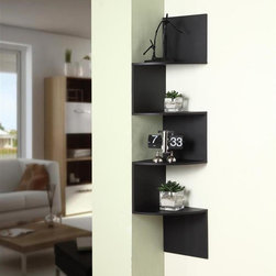 4D Concepts - Hanging Corner Storage - Black finish. Wonderful spacious corner shelving unit. 4 Curved shelves are beautifully placed to utilize any corner space in the home for your shelving needs. Uprights are predrilled for the screws to attach to the wall. Hardware comes with drywall anchors so all you need is a drill, drill bit and screwdriver to fasten the unit to the wall. Constructed of Composite Board and highly durable PVC laminate. Clean with a dry non abrasive cloth. Assembly required. 11.88 in. W x 11.88 in. D x 53.13 in. H (14 lbs.)