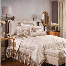 Jennifer Taylor Lumina Comforter/Duvet Set - Opulence lives in the Jennifer Taylor Lumina Comforter/Duvet Set. A bedding collection for the ages, this beauty pairs silky, oyster colored jacquard with champagne satin and a sheer wave pattern for a look you'll fall for. Pleated touches, gathered textures, and satiny finishes complete the look. This complete bedding set comes in a variety of size options, each with coordinating pillow shams finished with soft ruffles, flirty tassels, and elegant trims.Additional Details10-piece set: 1 comforter/duvet: 110 x 96 inches1 bed skirt: 78 x 80 inches (18-inch depth)3 Euro shams: 26 x 26 inches2 kings shams: 21 x 37 inches3 décor pillows9-piece set: 1 comforter: 93 x 96 inches1 bed skirt: 60 x 80 inches (18-inch depth)2 Euro shams: 26 x 26 inches2 standard shams: 20 x 27 inches3 décor shams4-piece set: 1 comforter: 104 x 96 inches1 bed skirt: 60 x 80 inches (18-inch depth)2 king shams: 21 x 37 inchesAbout ACG Green Group, Inc.ACG Green Group is a home furnishing company based in Irvine, California and is a proud industry partner with the American Society of Interior Designers. ACG Green features Jennifer Taylor and Sandy Wilson, their exclusive home décor lines. These two complete collections offer designer home furniture, bedding sets, dining linens, curtains, pillows, and more in classic silhouettes, original designs, and rich colors to complement your home and life.
