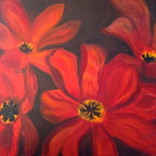"""""""Whimsical Red"""" (Original) by Tracey Peer - While strolling through the famous Kuppenhof Gardens outside of Amsterdam I discovered a love for these beautiful amaryllis."""