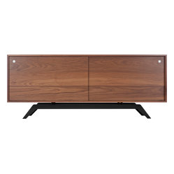 Elko Credenza, Walnut, Black Base