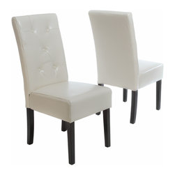 Great Deal Furniture - Alexander Ivory Leather Dining Chair (Set of 2) - The Alexander dining chair is upholstered in ivory fine bonded leather with a button tufted backrest. This chair is comfortable and sophiscated for any dining room or kitchen area.
