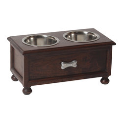 "Medium ""Traditional"" Elevated Dog Feeder - No more hiding of plastic bowls when guests arrive - instead enhance your home décor with this solid Acacia wood elevated dog feeder. The natural beauty of this handcrafted double diner creates a rich and sophisticated look."