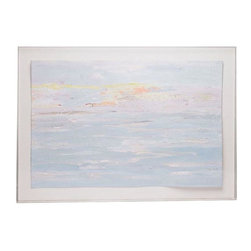 "Consigned ""Morning Splendor"" by Blessing Semler - Just Reduced ! We're loving these pastel, coastal vibes!  Original art by noted California artist, Blessing Semler. Acrylic on paper, mounted in a plexiglass shadow box. Semler's work has been exhibited worldwide as she has participated in more than 30 major exhibitions throughout the U.S., Europe, the Middle East and Asia. Her work is also part of several noted private collections."