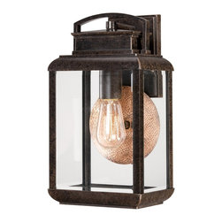 Quoizel - Quoizel BRN8408IB Byron Outdoor Wall Fixture - This fixture gives the exterior of your home both beauty and an exclusive sense of style.  It features a vintage bulb for a historic look and is enhanced by the copperhued plate directly behind it.  The clear beveled glass and the Imperial Bronze finish complete the look.