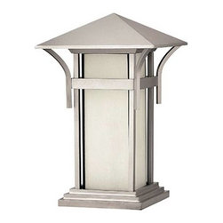 Hinkley - Hinkley 2576TT Harbor 1 Light Pier Mounted Lantern 2576TT - Illuminate your home in a whole new way with Hinkley's Harbor Collection. Sophisticated yet comfortable, Bold, worldly yet close to home design with infinite inspiration. Representing a completely innovative take on transitionally styled lighting.Finish: Titanium Includes Translucent Inside - Sandblasted Etched Seedy Glass Uses Bulb: One 100W Medium Base Certification: c - ETL - us Wet Energy Saving Usage: OutdoorBulb Base: Medium Bulb Type: Incandescent Collection: Harbor Height: 17 Light Direction: Up Lighting Number Of Lights: 1 Shade: Amber Etched Antique Seedy Glass, Sandblasted Etched Seedy Glass Socket 1 Base: MEDIUM Socket 1 Max Wattage: 100 Style: Craftsman Mission Suggested Room Fit: Outdoor UL Listed: Wet Locations Watts Per Bulb: 100 Width: 11