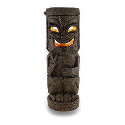 Zeckos - Peace Tall Flickering Friki Tiki Wooden Solar Accent Light - This cool cast resin Polynesian tiki solar garden light is perfect for adding some pathway light to your garden or landscaping. It attaches to the top of fenceposts, can stand on its own for use as a table light, and makes attractive garden accent lighting. The light turns on automatically in dark conditions, and lasts up to 10 hours under a full charge. The light is a yellow led, that flickers like a candle when lit, to provide you with warm, calm light without having to worry about the wind. Made to look like wood, the light measures 12 inches tall, 3 3/4 inches in diameter. It's great for anyone with a tiki bar.