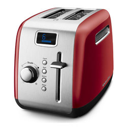 KitchenAid - KitchenAid RKMT222ER Empire Red 2-slice Manual High-Lift Lever Toaster (Refurbis - An attractive and functional addition to any countertop,the KitchenAid two-slice Toaster offers a variety of functions for everyday use. Highlighting an Empire Red color,this toaster toasts bread to your desired shade.