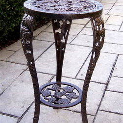 Oakland Living - Table Plant Stand w Grape Design & Lower Shel - Made of cast aluminum with a High-grade polyester powder coat finish for lasting durability and beauty. Pictured in Antique Bronze. 14 in. Dia. x 26 in. H
