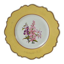 Lavish Shoestring - Consigned 4 Plates with Painted Orchids & Country Flowers, English William IV, c - This is a vintage one-of-a-kind item.