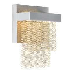 LBL Lighting - Camelot Wall Light - Camelot Wall Light features layers of chain mail suspended from a die-cast metal base. Mounts down only. Available in brass with a satin nickel finish. One 6 watt, 480 lumen 3000K 80 CRI LED module is included. Dimmable with a low voltage electronic dimmer. 5 inch width x 7 inch height x 2.3 inch depth. ADA compliant.
