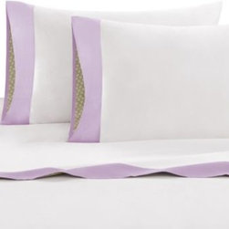 Echo Design - Echo Design Vineyard Paisley Sheet Set - These crisp, clean white Vineyard Paisley sheets are bordered with a lavender cuff and feature the top-of-bed pattern in a signature peek-a-boo cuff on the flat sheet and pillowcases.