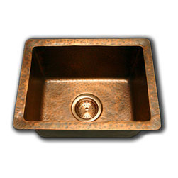 """TCS Home Supplies - Natural Coffee Hand Hammered Finish Copper Undermount / Drop In Kitchen Sink - Hand Hammered Finish. 16 Gauge Copper. Dimensions: 16.5"""" x 12.5"""" x 8""""."""
