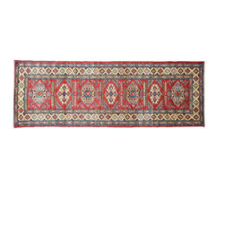 Oriental Rug, 3'X9' Hand Knotted 100% Wool High Quality Kazak Runner Rug SH11338 - This collections consists of well known classical southwestern designs like Kazaks, Serapis, Herizs, Mamluks, Kilims, and Bokaras. These tribal motifs are very popular down in the South and especially out west.