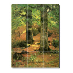Picture-Tiles, LLC - Vernon Beeches Tile Mural By Theodore Steele - * MURAL SIZE: 32x24 inch tile mural using (12) 8x8 ceramic tiles-satin finish.