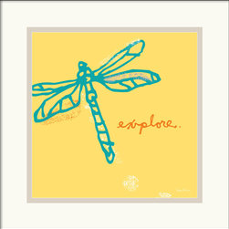 Amanti Art - Dragonfly Framed Print by Peter Horjus - Peter Horjus illustration series is both funky deco and ironically naturalistic. As though fly through a field grass, this teal dragonfly pops on the witch hazel background.