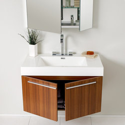 "35.5"" Vista Single Vanity with Medicine Cabinet - Teak (FVN8090TK) - The Fresca  Vista Single Vanity is a spacious one basin vanity that is a chic addition to any decor. Ideal for anyone looking for a winning combination of style, sleek design, and size that brings it all together to present something dashingly urban.  A simple, sleekly chic design that compliments any interior that demands to be updated to a strong streamlined space. Optional side cabinets are available. Several free faucet styles to choose from."