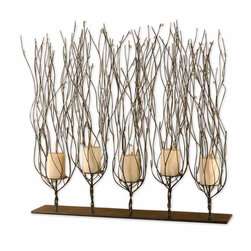 Uttermost - Uttermost 6-Inch by 30-Inch by 30-Inch Fedora Candleholder - This candle-holder is finished in a dark brown wash accented with clear beads. Distressed beige candles included.