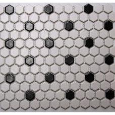 "Shop American Olean 10-Pack 12"" x 12"" Satinglo Hex White/Black Ceramic Floor Til"