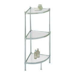 """Organize It All Inc. - Glacier 3 Tier Corner Shelf - Take advantage of every bathroom nook while preserving your kneecaps: the Glacier Corner Shelves feature a tubed steel frame with a chrome finish and clear tempered glass shelving. Its sleek and skinny design allows it to fit in smaller spaces while not taking up too much space. The glass shelves allow for storage of all kinds of bathroom essentials or decorative home items and has the added benefit of not sucking up any limited lighting which may be available to you.  Keep things bright and neat on this nicely finished unit. Dimensions: 13.25""""W x 13.25""""L x 33.75""""H"""