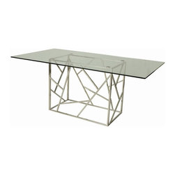 """Pastel Furniture - Pastel Furniture Firouzeh 71x40 Rectangular Table in Stainless Steel - The Firouzeh dining table with 70"""" x 39"""" rectangular glass top with a unique and intricate stainless steel base design. This beautifully made table will add style and beauty to your dining area."""