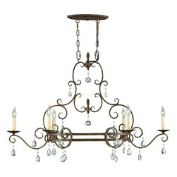 Murray Feiss Lighting - Murray Feiss Lighting-F2304/6MBZ-Chateau Collection6-Light Chandelier - Inspired by the grand Chateaus of Southern France, this collection is both delicate and detailed. Its square tube curls lyrically play into one another as the hand polished glass crystals punctuate each curl.