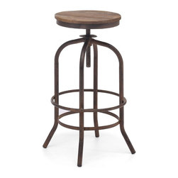Zuo Modern - Zuo Modern Twin Peaks Era Barstool X-38189 - Based on the same mechanisms of drafters chairs in the early 1900's, the Twin Peaks barstool's adjustable mechanism allows a comfortable height for anyone. The top is solid Elmwood and the base and accents are antique metal.