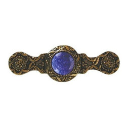 "Inviting Home - Victorian Pull (24K gold plate with blue sodalite) - Victorian Pull in 24K gold plate with blue sodalite semi-precious stone 3-7/8""W x 1-1/4""H Product Specification: Made in the USA. Fine-art foundry hand-pours and hand finished hardware knobs and pulls using Old World methods. Lifetime guaranteed against flaws in craftsmanship. Exceptional clarity of details and depth of relief. All knobs and pulls are hand cast from solid fine pewter or solid bronze. The term antique refers to special methods of treating metal so there is contrast between relief and recessed areas. Knobs and Pulls are lacquered to protect the finish. Alternate finishes are available. Blue Sodalite Semi-Precious stone. Blue Sodalite is a royal blue colored stone that usually has some white or gray-colored streaks. Blue Sodalite looks a bit more crystal-like. It was named by Professor Thomas Thompson who was called in to identify the specimen that was brought from Greenland to Denmark during the time of the Napoleonic wars - he identified it at first as Sodium Aluminum Silicate Chloride. The stone is associated with the Astrological sign Sagittarius and is thought to promote focus clearing mediation and calming of fears. Victorian Jewel pulls and knobs will allow you to have so much fun with the design. The pulls and knobs come in five different kinds of semi-precious stones: Black Onyx Tiger Eye Blue Sodalite Red Carnelian and Green Aventurine. You can even use all of the different colors of the semi-precious stones on one cabinet fa�ade�which would give it an eclectic and playful look."