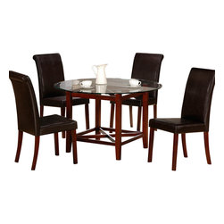 "Homelegance - Homelegance Beyond Round Glass Dining Table in Cherry - 48"" round glass is supported by an X-patterned, cube-shaped table base. The cherry finish and dark brown bi-cast vinyl chairs lend to the contemporary design."