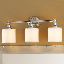 3 Light Linen Drum Shade Bath Light - Bronze or Chrome -