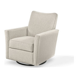 Daisy Swivel Chair - An essential chair in soft fabric that lets you multi-task- watch TV, gaze into the fireplace, Rock-a-bye a baby with our new Daisy that swivels and glides in comfort and style. Our taller back gives added comfort and support so go ahead- rock away or swivel a full 360 degrees!